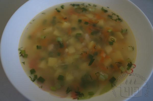 готовый суп с галушками