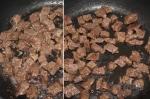 обжаривание говядины на сковороде