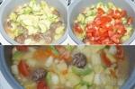 добавление кабачка и помидоров