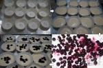 заполнение формочек тестом и ягодами