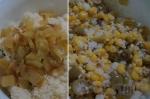 смешивание ингредиентов салата с кускусом и кукурузой